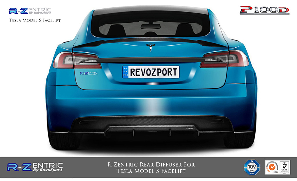 Revozport 2016-2018 Tesla Model S R-Zentric Rear Diffuser(CF)